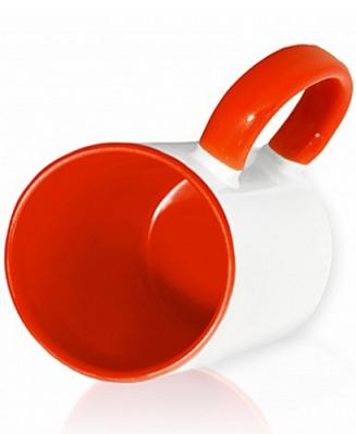 Кружка цветная внутри и ручка, красная