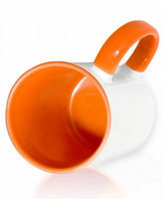 Кружка цветная внутри и ручка, оранжевая