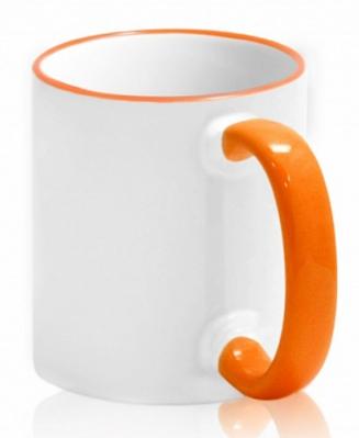 Кружка с цветной каемкой и ручкой оранжевая