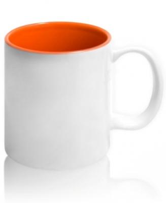 Кружка цветная внутри, оранжевая