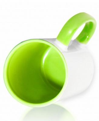 Кружка цветная внутри и ручка, салатовая