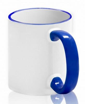 Кружка с цветной каемкой и ручкой синяя