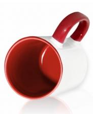 Кружка цветная внутри и ручка, бордовая