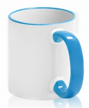 Кружка с цветной каемкой и ручкой голубая