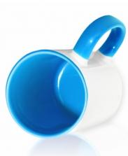 Кружка цветная внутри и ручка, голубая