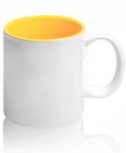 Кружка цветная внутри, желтая