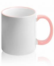 Кружка с цветной каемкой и ручкой розовая