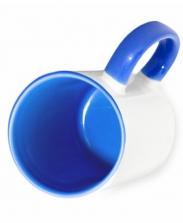 Кружка цветная внутри и ручка, синяя