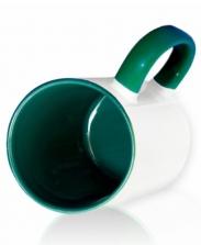 Кружка цветная внутри и ручка, зеленая