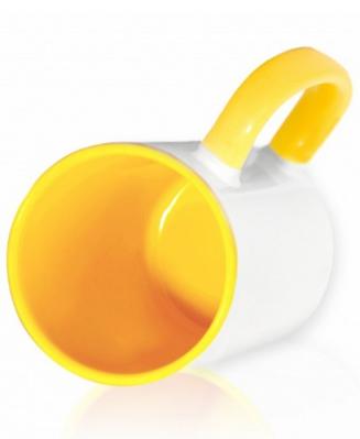 Кружка цветная внутри и ручка, желтая