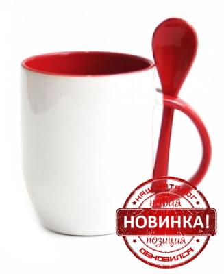 Кружка с ложкой красная