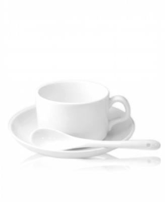 Кружка керамическая кофейная, блюдце и ложка