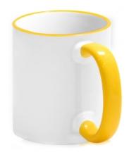 Кружка с цветной каемкой и ручкой желтая