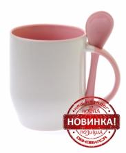 Кружка с ложкой розовая