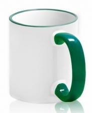 Кружка с цветной каемкой и ручкой зеленая
